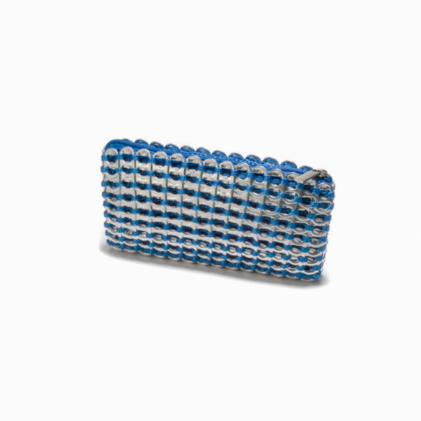 blue and silver clutch