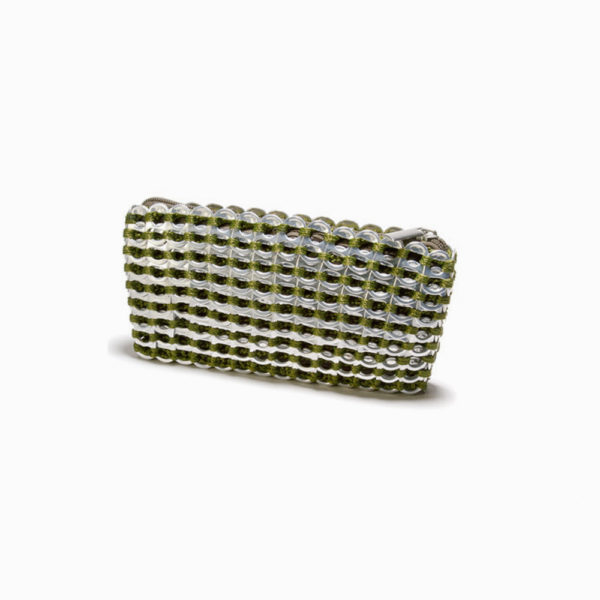 green and silver clutch