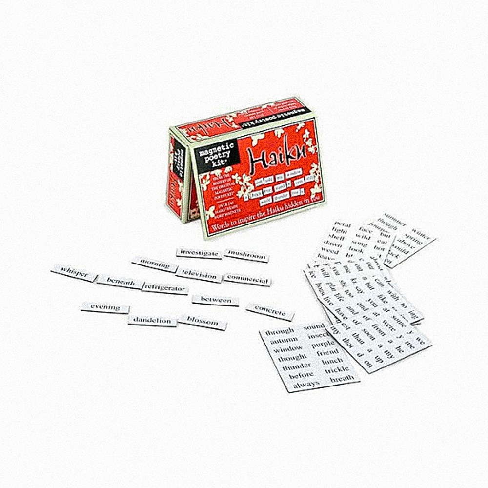 word magnets and box