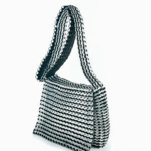 black and silver handbag