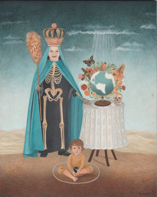 Painting of crowned skeleton with globe and child