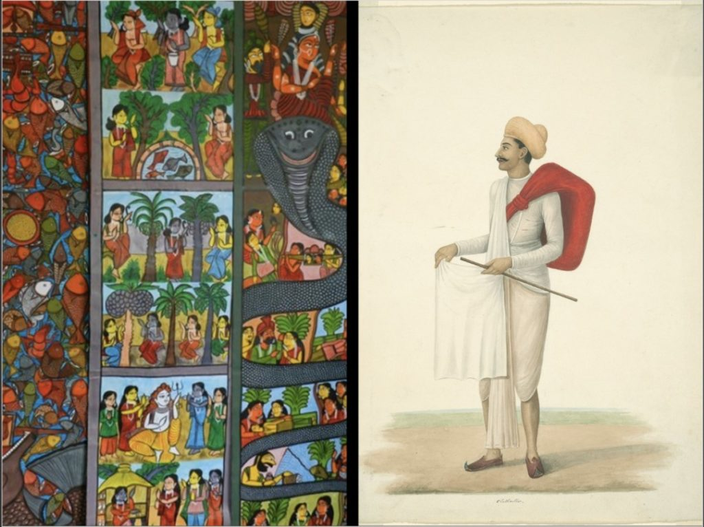 Two Indian Paintings: Patua painting. Untitled. n.d. & attributed to Sheikh Muhammad Amir of Karraya. Cloth Seller. c. 1840